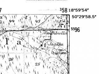Reduced fragment of topographic map de--mb--025k--55_079-ams--(1952)--N050-30_E018-50--N050-24_E019-00; towns and cities Tarnowskie Gory, Miasteczko Slaskie