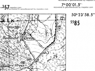 Reduced fragment of topographic map de--mb--025k--56_007-ams--(1952)--N050-24_E006-50--N050-18_E007-00
