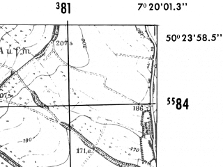 Reduced fragment of topographic map de--mb--025k--56_009-ams--(1952)--N050-24_E007-10--N050-18_E007-20