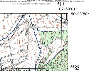 Reduced fragment of topographic map de--mb--025k--56_012-ams--(1954)--N050-24_E007-40--N050-18_E007-50