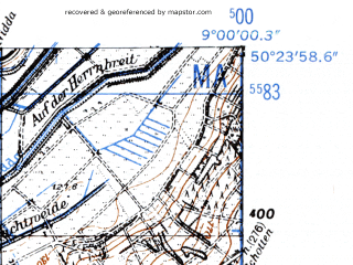 Reduced fragment of topographic map de--mb--025k--56_019-ams--(1952)--N050-24_E008-50--N050-18_E009-00
