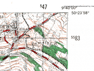 Reduced fragment of topographic map de--mb--025k--56_023-ams--(1954)--N050-24_E009-30--N050-18_E009-40; towns and cities Schluchtern