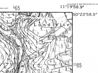 Reduced fragment of topographic map de--mb--025k--56_033-ams--(1952)--N050-24_E011-10--N050-18_E011-20