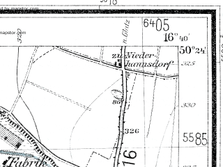 Reduced fragment of topographic map de--mb--025k--56_065--(1936)--N050-24_E016-30--N050-18_E016-40; towns and cities Bystrzyca Klodzka
