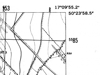 Reduced fragment of topographic map de--mb--025k--56_068-ams--(1952)--N050-24_E017-00--N050-18_E017-10