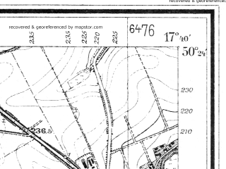 Reduced fragment of topographic map de--mb--025k--56_071--(1930)--N050-24_E017-30--N050-18_E017-40; towns and cities Prudnik