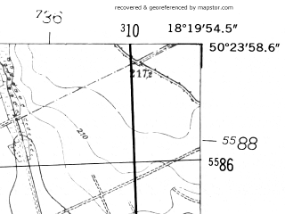 Reduced fragment of topographic map de--mb--025k--56_075-ams--(1952)--N050-24_E018-10--N050-18_E018-20