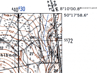 Reduced fragment of topographic map de--mb--025k--57_014-ams--(1952)--N050-18_E008-00--N050-12_E008-10