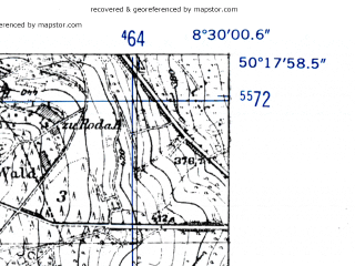 Reduced fragment of topographic map de--mb--025k--57_016-ams--(1952)--N050-18_E008-20--N050-12_E008-30