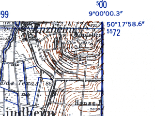 Reduced fragment of topographic map de--mb--025k--57_019-ams--(1952)--N050-18_E008-50--N050-12_E009-00