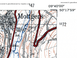 Reduced fragment of topographic map de--mb--025k--57_023-ams--(1954)--N050-18_E009-30--N050-12_E009-40