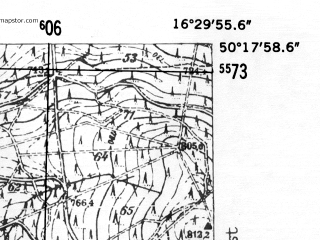 Reduced fragment of topographic map de--mb--025k--57_064-ams--(1952)--N050-18_E016-20--N050-12_E016-30