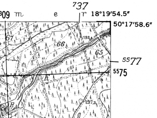 Reduced fragment of topographic map de--mb--025k--57_075-ams--(1952)--N050-18_E018-10--N050-12_E018-20