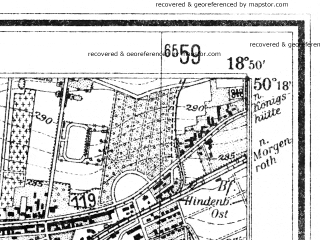 Reduced fragment of topographic map de--mb--025k--57_078--(1940)--N050-18_E018-40--N050-12_E018-50; towns and cities Ruda Slaska, Knurow