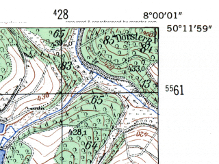 Reduced fragment of topographic map de--mb--025k--58_013-ams--(1954)--N050-12_E007-50--N050-06_E008-00