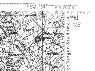 Reduced fragment of topographic map de--mb--025k--58_016-ams--(1952)--N050-12_E008-20--N050-06_E008-30