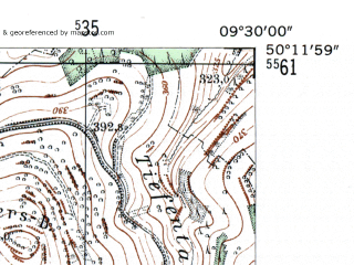 Reduced fragment of topographic map de--mb--025k--58_022-ams--(1954)--N050-12_E009-20--N050-06_E009-30