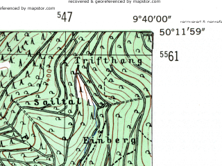 Reduced fragment of topographic map de--mb--025k--58_023-ams--(1954)--N050-12_E009-30--N050-06_E009-40