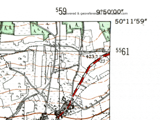 Reduced fragment of topographic map de--mb--025k--58_024-ams--(1954)--N050-12_E009-40--N050-06_E009-50
