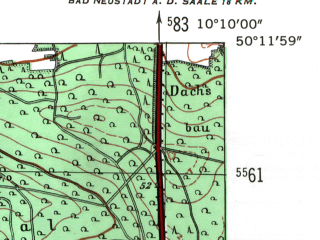 Reduced fragment of topographic map de--mb--025k--58_026-ams--(1954)--N050-12_E010-00--N050-06_E010-10