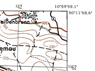 Reduced fragment of topographic map de--mb--025k--58_031-ams--(1953)--N050-12_E010-50--N050-06_E011-00