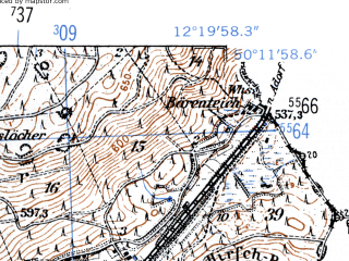 Reduced fragment of topographic map de--mb--025k--58_039-ams--(1952)--N050-12_E012-10--N050-06_E012-20
