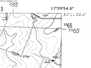 Reduced fragment of topographic map de--mb--025k--58_073-ams--(1952)--N050-12_E017-50--N050-06_E018-00