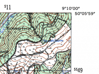 Reduced fragment of topographic map de--mb--025k--59_020-ams--(1954)--N050-06_E009-00--N050-00_E009-10