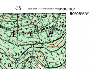 Reduced fragment of topographic map de--mb--025k--59_022-ams--(1954)--N050-06_E009-20--N050-00_E009-30