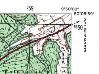 Reduced fragment of topographic map de--mb--025k--59_024-ams--(1954)--N050-06_E009-40--N050-00_E009-50