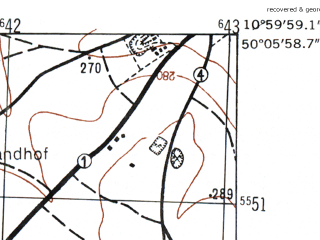 Reduced fragment of topographic map de--mb--025k--59_031-ams--(1953)--N050-06_E010-50--N050-00_E011-00