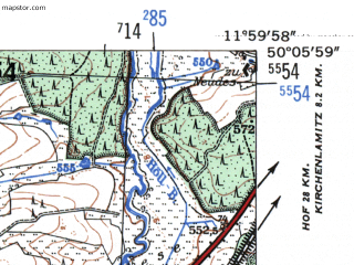 Reduced fragment of topographic map de--mb--025k--59_037-ams--(1954)--N050-06_E011-50--N050-00_E012-00