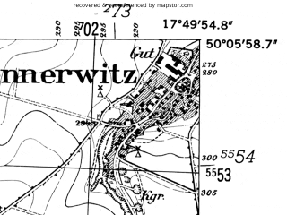 Reduced fragment of topographic map de--mb--025k--59_072-ams--(1952)--N050-06_E017-40--N050-00_E017-50; towns and cities Krnov