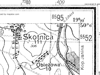 Reduced fragment of topographic map de--mb--025k--59_081--(1942)--N050-06_E019-10--N050-00_E019-20; towns and cities Oswiecim