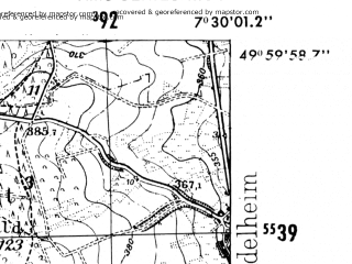 Reduced fragment of topographic map de--mb--025k--60_010-ams--(1952)--N050-00_E007-20--N049-54_E007-30
