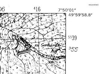 Reduced fragment of topographic map de--mb--025k--60_012-ams--(1952)--N050-00_E007-40--N049-54_E007-50