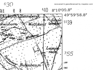 Reduced fragment of topographic map de--mb--025k--60_014-ams--(1952)--N050-00_E008-00--N049-54_E008-10