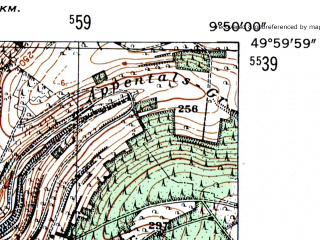 Reduced fragment of topographic map de--mb--025k--60_024-ams--(1954)--N050-00_E009-40--N049-54_E009-50