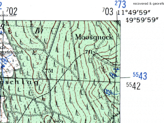 Reduced fragment of topographic map de--mb--025k--60_036-ams--(1954)--N050-00_E011-40--N049-54_E011-50