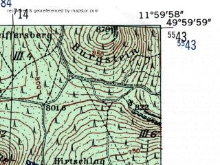 Reduced fragment of topographic map de--mb--025k--60_037-ams--(1954)--N050-00_E011-50--N049-54_E012-00