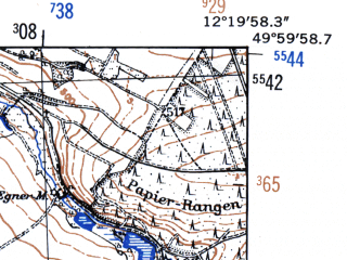 Reduced fragment of topographic map de--mb--025k--60_039-ams--(1952)--N050-00_E012-10--N049-54_E012-20