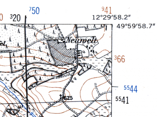 Reduced fragment of topographic map de--mb--025k--60_040-ams--(1952)--N050-00_E012-20--N049-54_E012-30