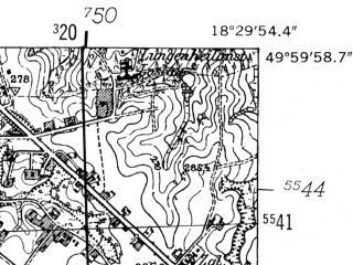 Reduced fragment of topographic map de--mb--025k--60_076-ams--(1952)--N050-00_E018-20--N049-54_E018-30