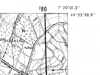 Reduced fragment of topographic map de--mb--025k--61_009-ams--(1952)--N049-54_E007-10--N049-48_E007-20