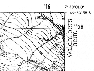 Reduced fragment of topographic map de--mb--025k--61_012-ams--(1952)--N049-54_E007-40--N049-48_E007-50