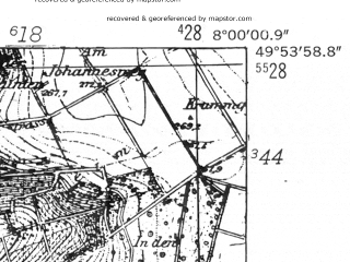 Reduced fragment of topographic map de--mb--025k--61_013-ams--(1952)--N049-54_E007-50--N049-48_E008-00; towns and cities Bad Kreuznach