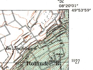 Reduced fragment of topographic map de--mb--025k--61_015-ams--(1954)--N049-54_E008-10--N049-48_E008-20