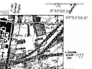 Reduced fragment of topographic map de--mb--025k--61_017-ams--(1952)--N049-54_E008-30--N049-48_E008-40; towns and cities Darmstadt