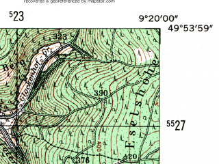 Reduced fragment of topographic map de--mb--025k--61_021-ams--(1954)--N049-54_E009-10--N049-48_E009-20
