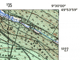 Reduced fragment of topographic map de--mb--025k--61_022-ams--(1954)--N049-54_E009-20--N049-48_E009-30